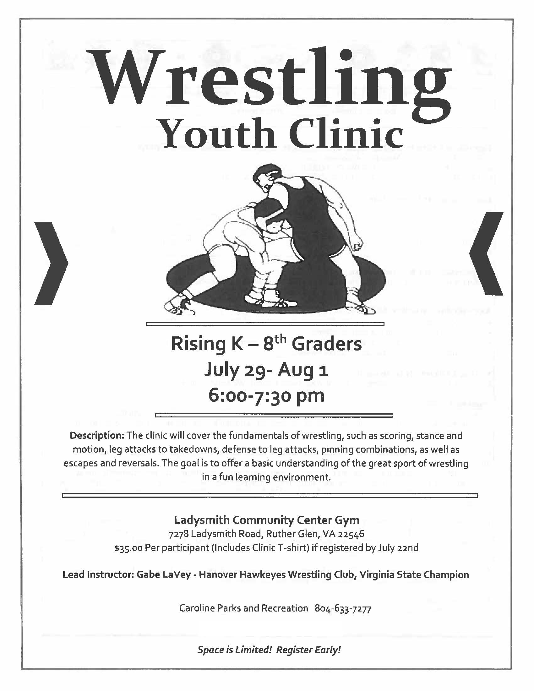 Parks and Rec Wrestling Youth Clinic