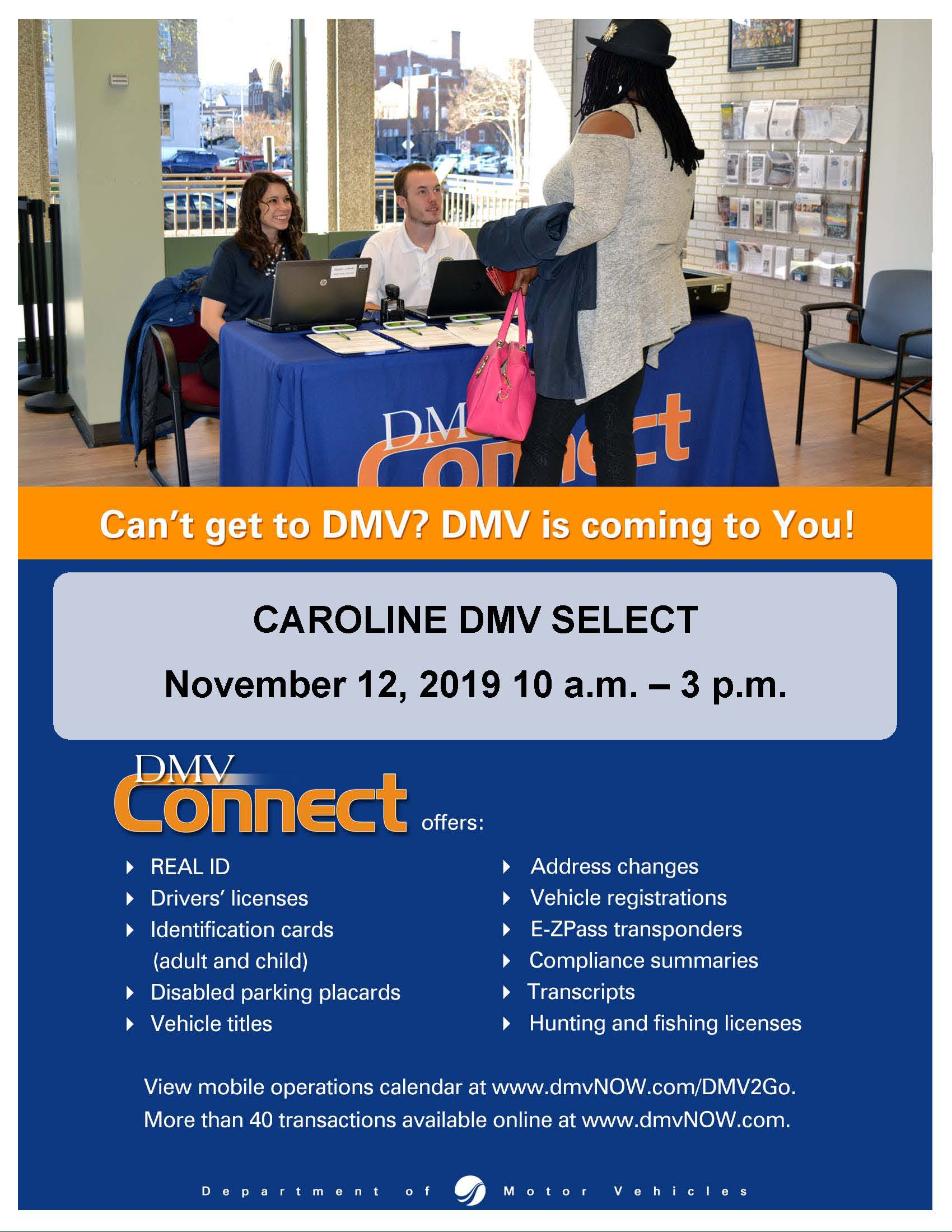 DMV Connect November 12, 2019 Flyer